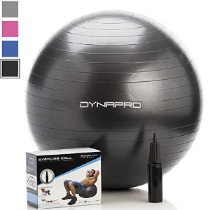 Exercise Ball with Pump, Gym Quality Fitness Ball by DynaPro Direct