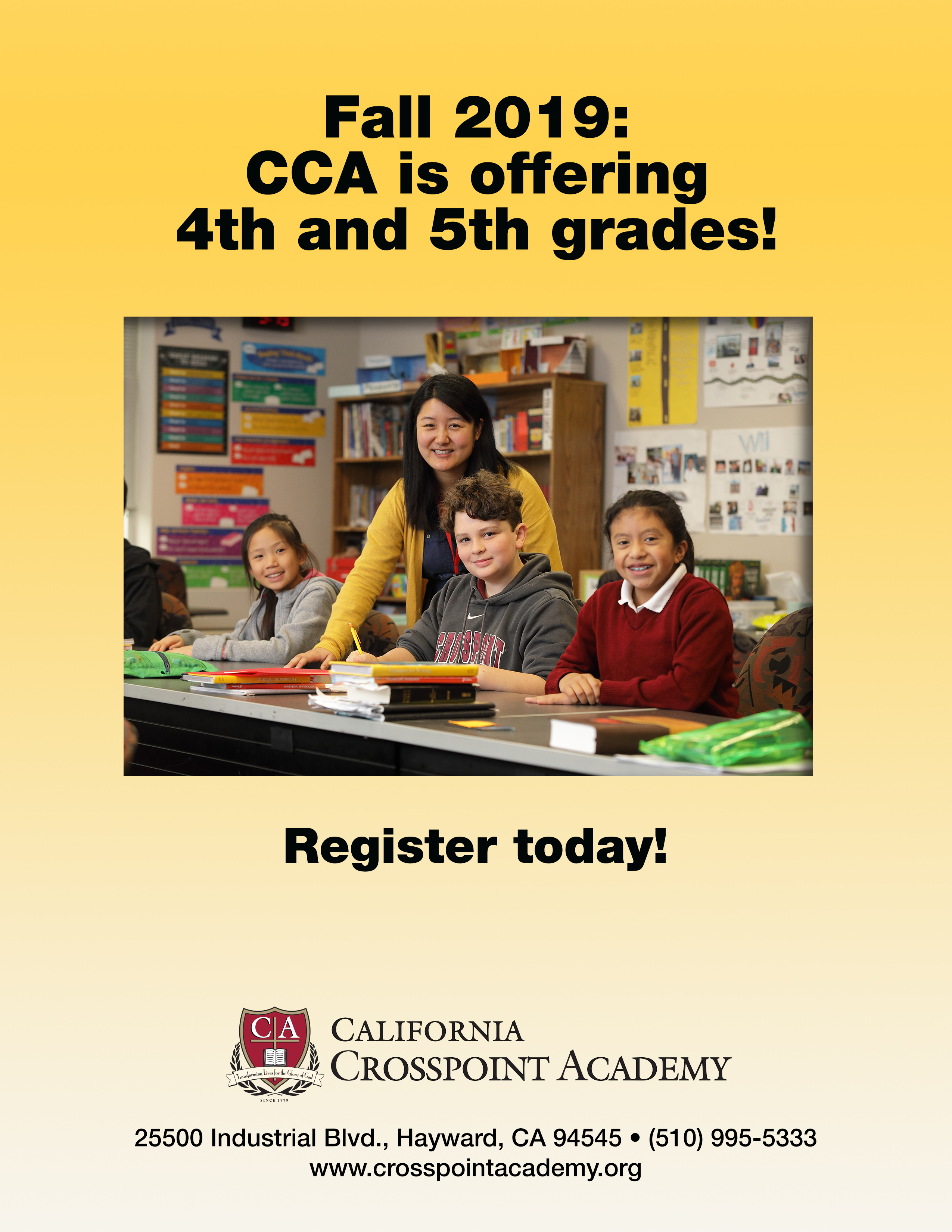 CCA Adding 4th And 5th Grades This Fall!